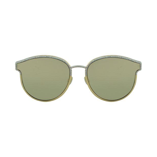 a30e70088 Óculos de Sol Espelhado Aro Fechado Dourado Redondo Dourado ...